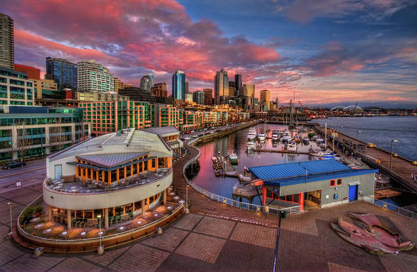 Horizontal Poster featuring the photograph Seattle Waterfront At Sunset by Photo by David R irons Jr