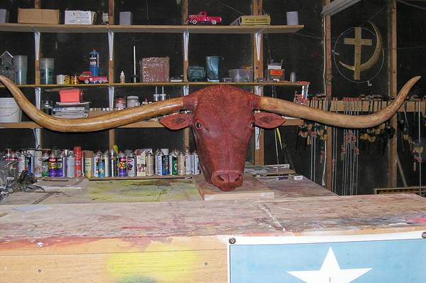 Longhorn Poster featuring the sculpture Texas Monster Longhorn by Michael Pasko