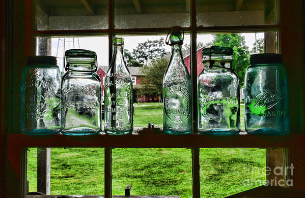Bottles And Jars In The Window Poster featuring the photograph The Kitchen Window by Paul Ward