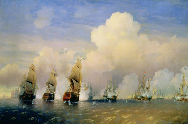 The Poster featuring the painting The Russo Swedish Sea War Near Kronstadt In 1790 by Aleksei Petrovich Bogolyubov