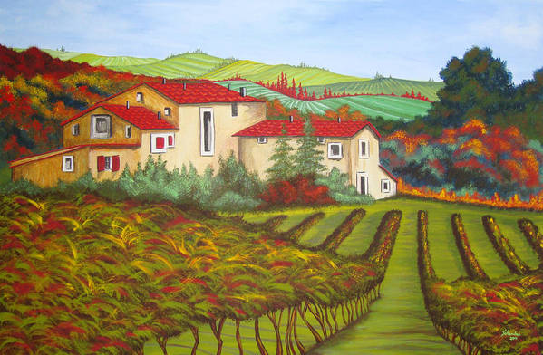 Tuscany Poster featuring the painting Tuscany by Amanda Schambon