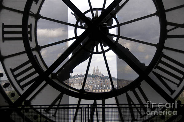 Paris Poster featuring the photograph View Of Montmartre Through The Clock At Museum Orsay.paris by Bernard Jaubert