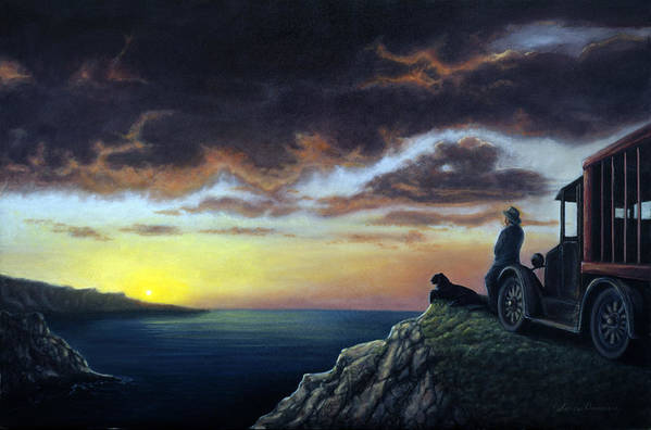 Ocean Poster featuring the painting Viewing The Bay by Lance Anderson