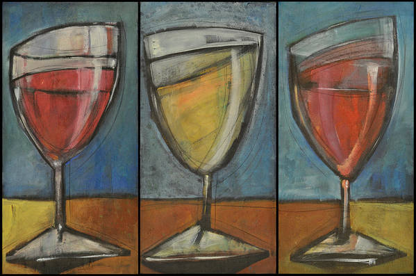 Wine Poster featuring the painting Wine Trio Option 2 by Tim Nyberg