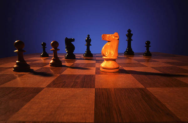 Knight; Chess; Strategy; Strategic; Game; Games; Board Game; Plan; Planning; Think; Thought; Concentrate; Concentration; Decision; Choice; Choices; Option; Options Poster featuring the photograph Your Move by Gerard Fritz