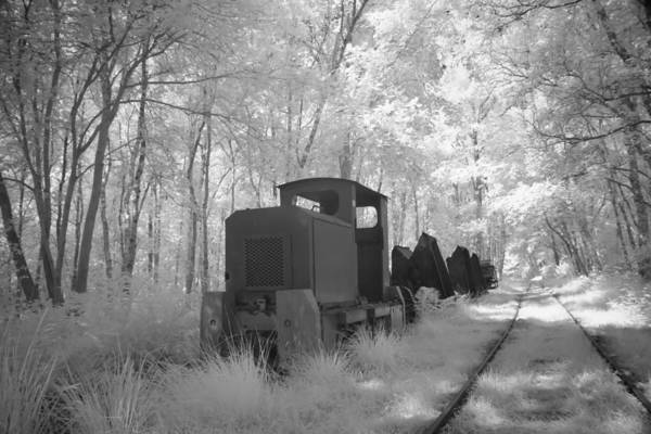 Bomen Poster featuring the photograph Locomotive With Wagons In Infrared Light In The Forest In Netherlands by Ronald Jansen