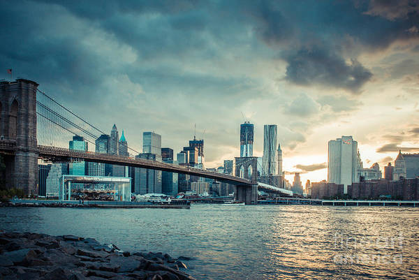 Nyc Poster featuring the photograph Nyc Skyline In The Sunset V1 by Hannes Cmarits