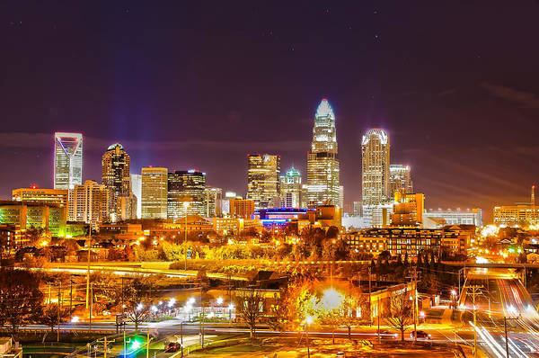 District Poster featuring the photograph Skyline Of Uptown Charlotte North Carolina At Night by Alex Grichenko