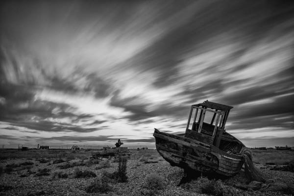 Long Exposure Poster featuring the photograph Stunning Black And White Image Of Abandoned Boat On Shingle Beac by Matthew Gibson