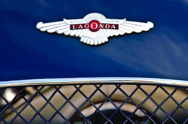 Lagonda Poster featuring the photograph 1959 Aston Martin Jaguar C-type Roadster Hood Emblem by Jill Reger