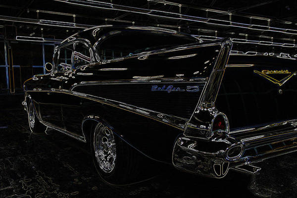 Hot Rod Poster featuring the photograph 57 Chevy Neon Glow by Steve McKinzie