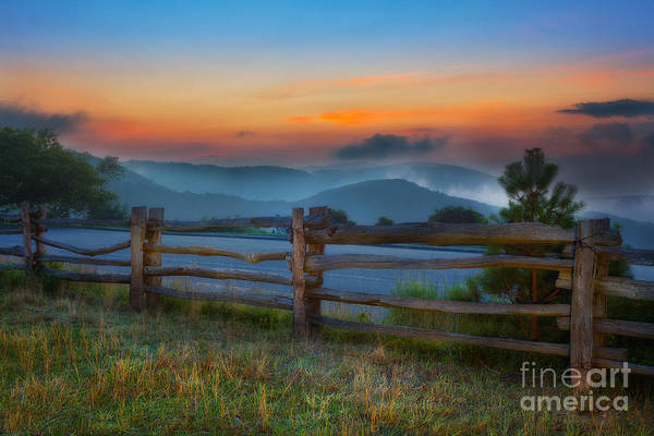 Blue Ridge Parkway Poster featuring the painting A New Beginning - Blue Ridge Parkway Sunrise I by Dan Carmichael