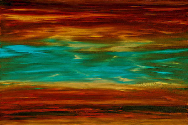 Copper Poster featuring the painting Abstract Landscape Art - Fire Over Copper Lake - By Sharon Cummings by Sharon Cummings