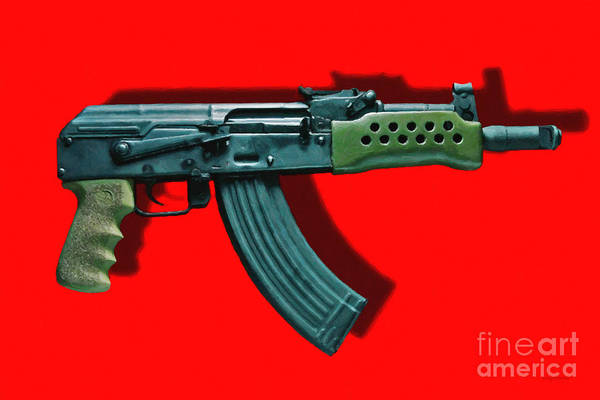 Gun Poster featuring the photograph Assault Rifle Pop Art - 20130120 - V1 by Wingsdomain Art and Photography