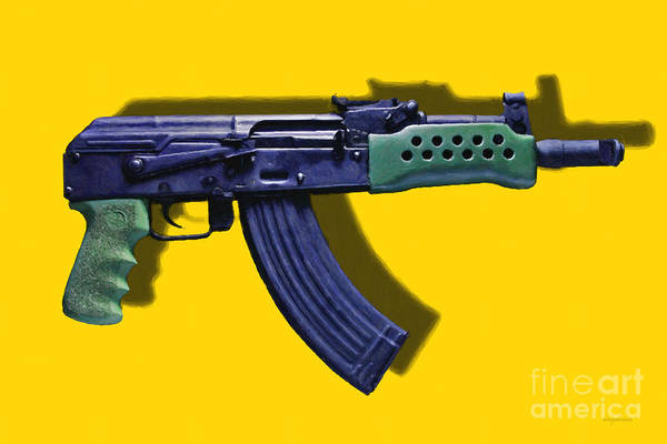 Gun Poster featuring the photograph Assault Rifle Pop Art - 20130120 - V2 by Wingsdomain Art and Photography