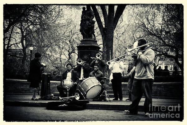 Filmnoir Poster featuring the photograph Band On Union Square New York City by Sabine Jacobs