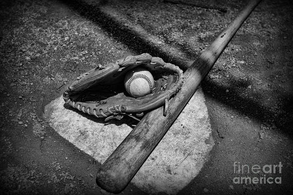 Paul Ward Poster featuring the photograph Baseball Home Plate In Black And White by Paul Ward
