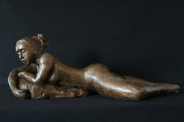 Fired Clay Sculpture Poster featuring the sculpture Beach Girl - Profil by Flow Fitzgerald