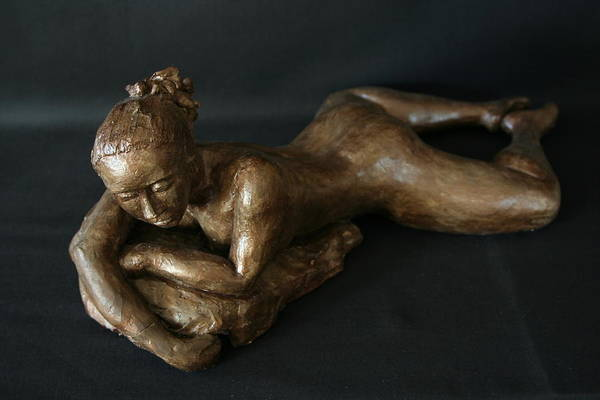Fired Clay Sculpture Poster featuring the sculpture Beach Girl - Semi Profil by Flow Fitzgerald