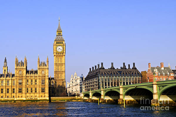 Big Poster featuring the photograph Big Ben And Westminster Bridge by Elena Elisseeva