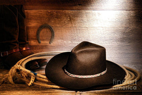 Cowboy Poster featuring the photograph Black Felt Cowboy Hat by Olivier Le Queinec