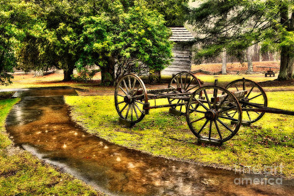 Blue Ridge Parkway Poster featuring the painting Blue Ridge Parkway Vintage Wagon In The Rain II by Dan Carmichael