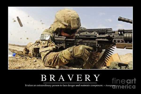 Horizontal Poster featuring the photograph Bravery Inspirational Quote by Stocktrek Images