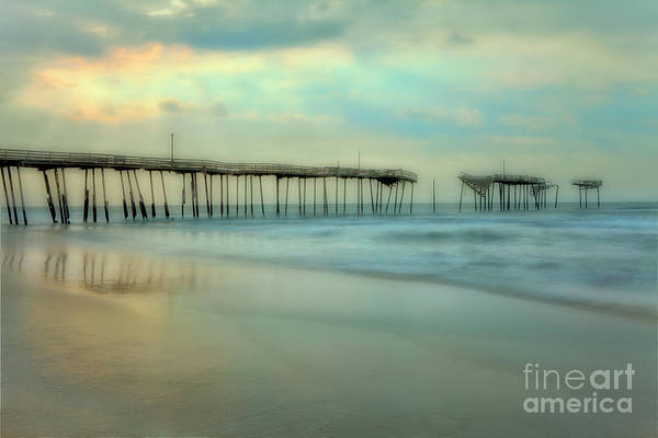 Outer Banks Poster featuring the painting Broken Dreams - Frisco Pier Outer Banks II by Dan Carmichael