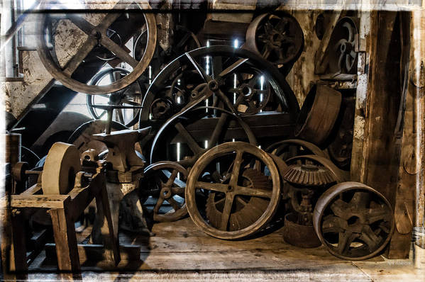 Special Effect Poster featuring the photograph Butte Creek Mill Interior Scene by Mick Anderson