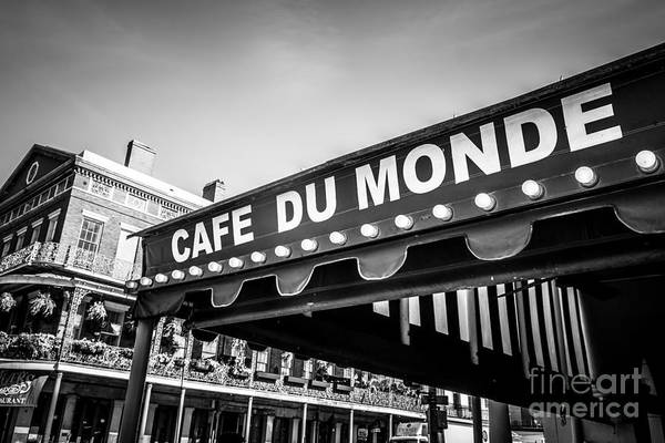 America Poster featuring the photograph Cafe Du Monde Black And White Picture by Paul Velgos