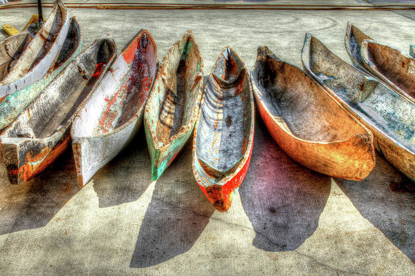 The Poster featuring the photograph Canoes by Debra and Dave Vanderlaan