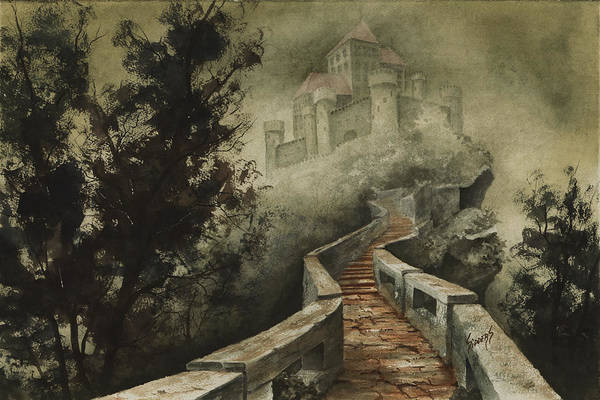 Castle Poster featuring the painting Castle In The Mist by Sam Sidders