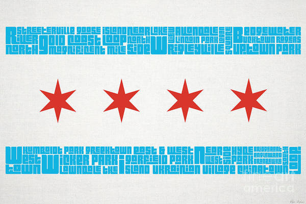 Chicago Poster featuring the mixed media Chicago Flag Neighborhoods by Mike Maher