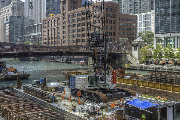 Chicago Poster featuring the photograph Chicago- Riverwalk Construction by Greg Thiemeyer