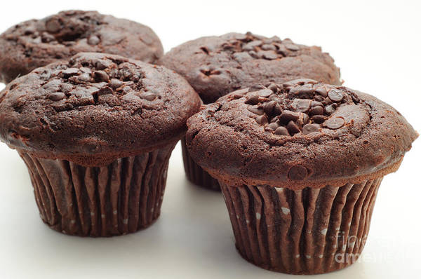 Muffin Poster featuring the photograph Chocolate Chocolate Chip Muffins - Bakery - Breakfast by Andee Design