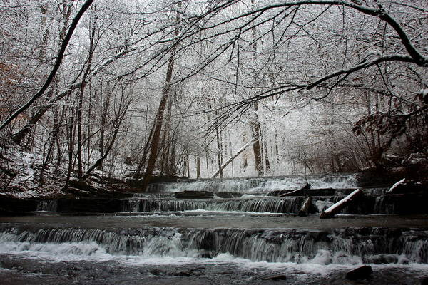 Water Poster featuring the photograph Cinderella Falls In Winter by Rachel Hallmark