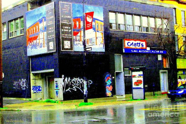 Rain Poster featuring the painting Closing Time Montreal Factory Glatts Produits Quebec Meats Graffiti Art City Scenes Carole Spandau by Carole Spandau