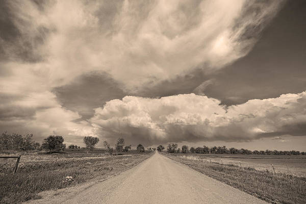 Road Poster featuring the photograph Colorado Country Road Sepia Stormin Skies by James BO Insogna