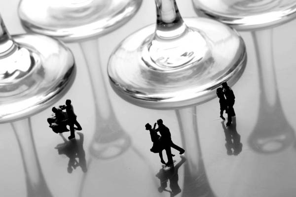 Black And White Poster featuring the painting Dancing Among Glass Cups by Paul Ge