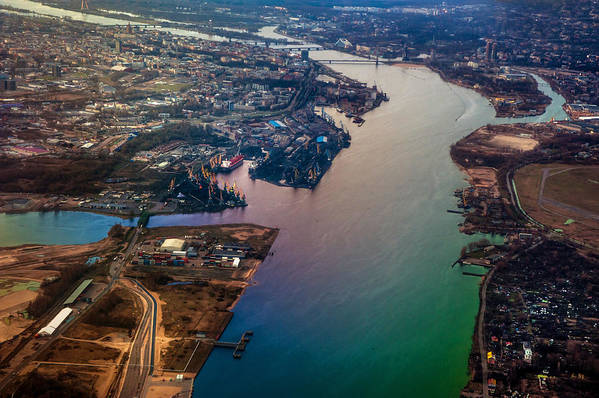 Aerial Poster featuring the photograph Daugawa River. Riga. Latvia. Rainbow Earth by Jenny Rainbow