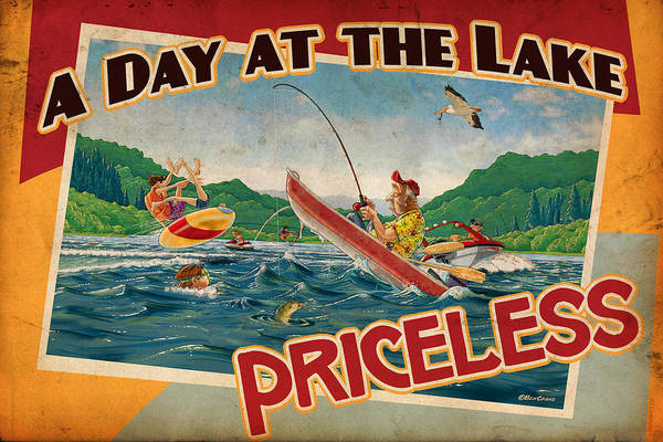 Ben Crane Poster featuring the painting Day At The Lake by JQ Licensing