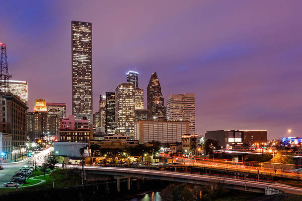 Downtown Houston Poster featuring the photograph Downtown Houston Texas Skyline Beating Heart Of A Bustling City by Silvio Ligutti