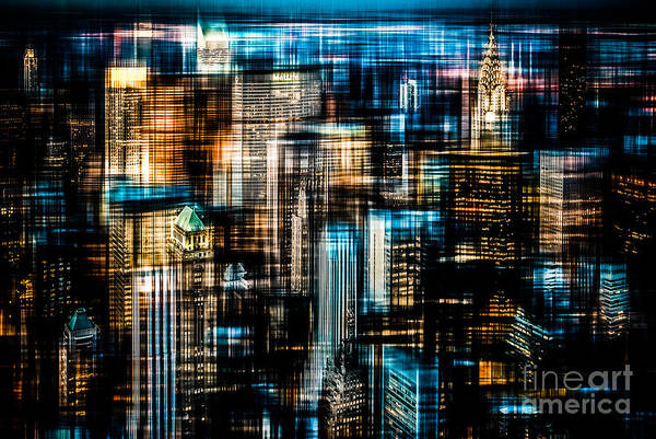 Nyc Poster featuring the photograph Downtown II - Dark by Hannes Cmarits