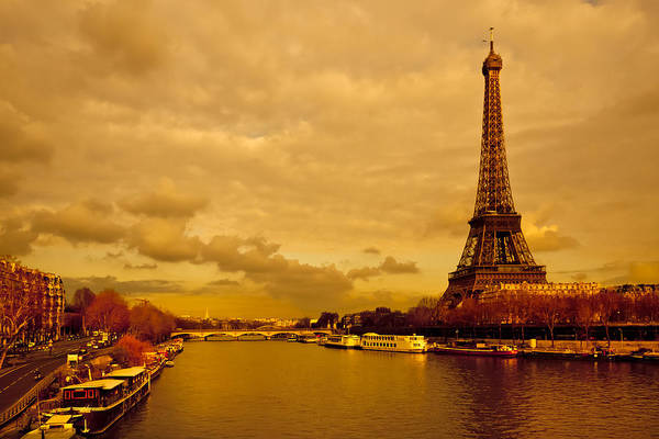 Eiffel Tower Poster featuring the photograph Eiffel Tower Rising Over The Seine by Mark E Tisdale