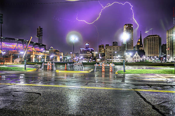 King Kong Poster featuring the photograph Electric Detroit by Nicholas Grunas