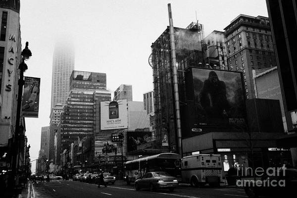Usa Poster featuring the photograph empire state building shrouded in mist from west 34th Street and 7th Avenue new york city usa by Joe Fox