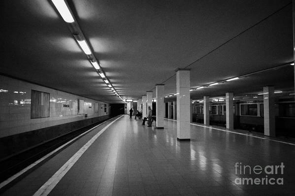 Berlin Poster featuring the photograph empty Potsdamer Platz s-bahn station Berlin Germany by Joe Fox