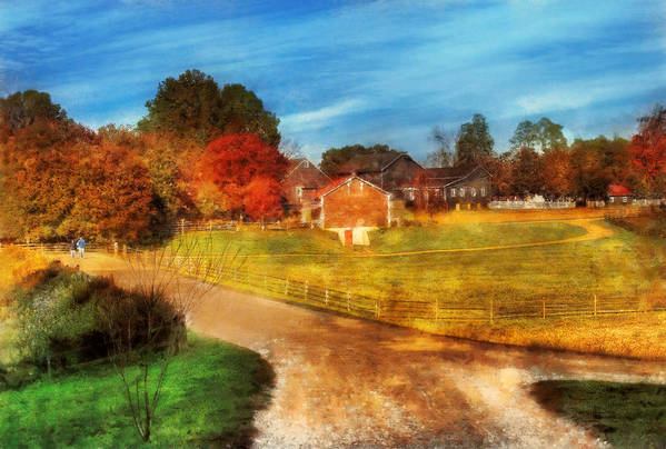 Savad Poster featuring the digital art Farm - Barn - A Walk In The Country by Mike Savad