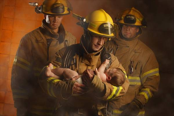 Outdoors Poster featuring the photograph Fire Fighters Rescuing A Baby by Don Hammond