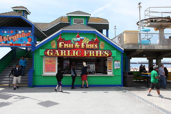 California Poster featuring the photograph Fish And Fries At The Santa Cruz Beach Boardwalk California 5d23687 by Wingsdomain Art and Photography